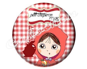 1 cabochon 30mm glass, Red Riding Hood, Wolf, fairy tale