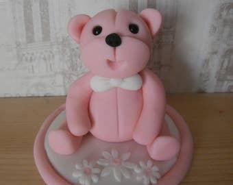 Teddy Bear,cake topper,sugar paste,edible,fondant,pink,birthday,christening,any colour,baby,cake decoration
