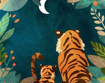 Tigers at Night - Vertical Print