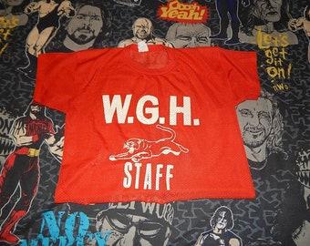 1980s WGH Staff Puma FISHNET cropped top - vintage crop belly shirt