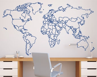 World map wall decal etsy more colors world map with countries borders outline wall decal gumiabroncs Gallery