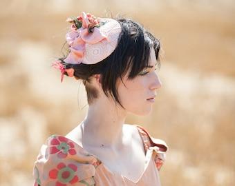 Peach fascinator hat headpiece wedding bridesmaid ascot races goodwood boho vintage hippie flowers unique