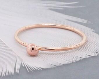 Bulle d'or bague bijoux en perles - Stacking anneaux or cadeau pour maman - bague en or-bague de Midi - meilleur ami des anneaux