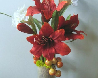 Valentine Flowers Floral Arrangement, Red Amaryllis Winter Bulbs Paperwhites Narcissus
