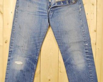 "Vintage 1960's/70's LEVIS ""BIG E"" 501's Denim Jeans / Single Stitch / ""2"" Button / Selvedge / Redline / Retro Collectable Rare"