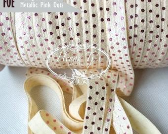 "IVORY /Metallic PINK Foil : Polka Dots Fold Over Elastic Printed. foe - 5/8"" foe 2, 5 or 10 Yards. DIY Headband Supplies"