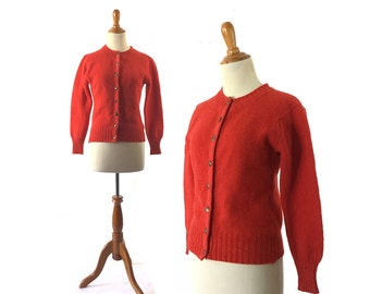 Red Sweater,  Red Cardigan, wool Sweater, 1950s sweater, Vintage Clothing Sweater, Women Tops Sweater Cardigan