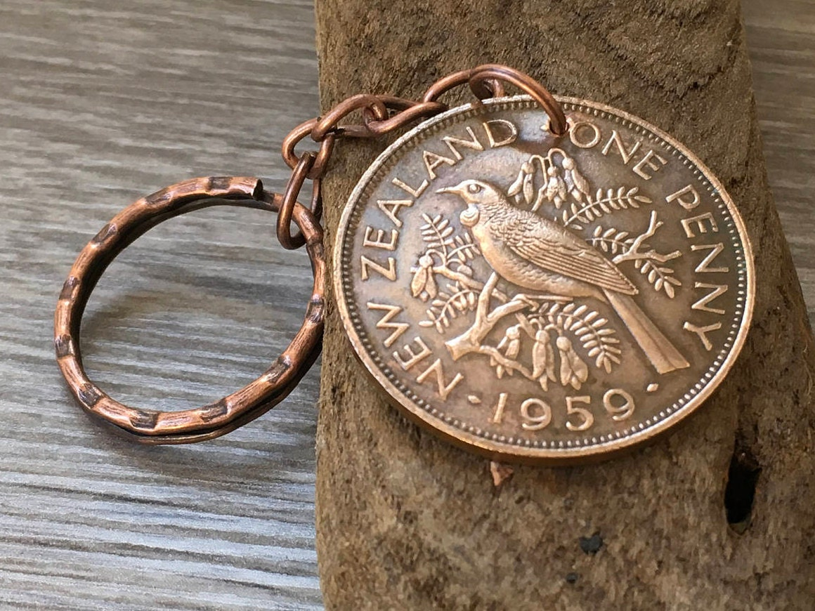59th Birthday Gift 1959 New Zealand Coin Keyring Tui Bird