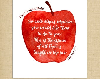 Printable Wall Art - Bible Verse Printable - Kitchen Art - The Golden Rule Printable - 5x7 Art Print - Instant Download