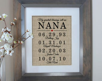 Mothers Day Gift for Grandma Gift for NANA Birthday Gift from Daughter Personalized Nana Gift Mother of the Bride Gift Nana Gift for Mother