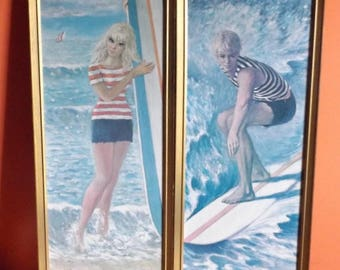 Surfer Boy Girl 60s Framed Art Prints Rare Large Pair Wild Surfing Pics Go Go Surfing by E. Fish