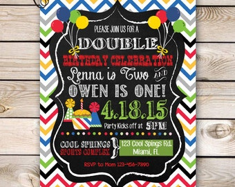 Combined Birthday Party Invitation Jump House Party Bounce House Invitation Customizable 5x7 Printable Boy Girl Combined Party Chevron