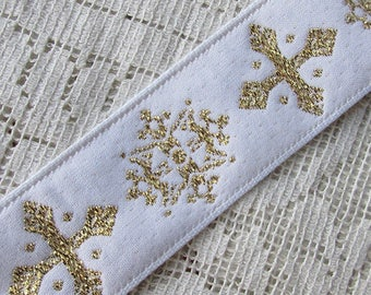 "Italy 3 Yards Embroidered Metallic Church Jacquard Sewing Trim 1-3/16"" Wide  RV-13"