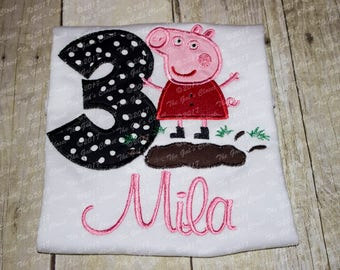 Peppa Pig Muddy Puddle Inspired Embroidery Top/Tank/Long Sleeve