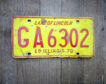 Illinois License Plate Tag 1970 Car Classics  Automotive Garage Cool Stuff for Guys