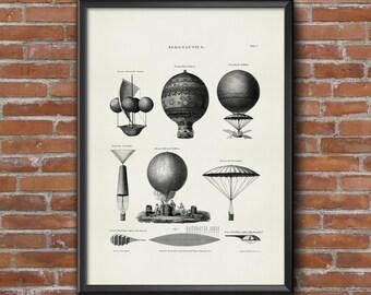 Old vintage Illustrations of aeronautical transportation-Balloons