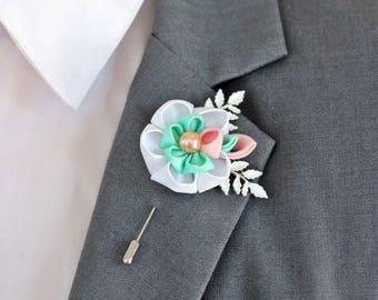 White mint flower boutonniere, cotton, Linen Flower pin, mens boutonniere, mens lapel pin, vintage lapel wedding, pink wedding boutonniere