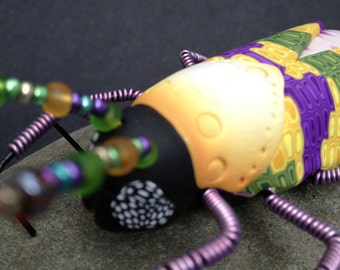 Beetle Bug Sculpture Insect Art Purple Pink (BTL-0009)