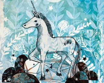 Unicorn Art Print - Unicorn- Children's Art - Gift- Unique Art  -Illustration - Illustrated Print - Wall Art - A4 A3 Print