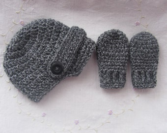 Newborn Newsboy Hat and Mitten Set (Made To Order) Charcoal Newsboy Hat, Baby Boy Hat and Mitten Gift Set, Infant Newsboy Hat, Baby Gift