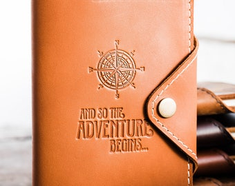 Huge SALE 50% OFF Refillable Leather Snap Journal... Compass + And So the Adventure Begins  -- Handmade in Portland, OR