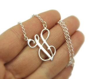 Letter necklace. Monogram Initial necklace.Silver name necklace. Personalized name necklace. Sterling silver name plate. Gift for men.