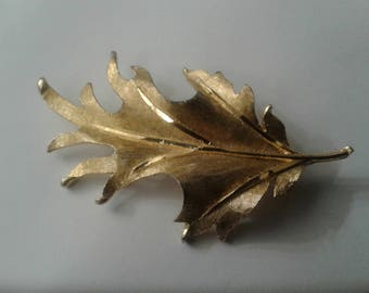 BSK Brushed Goldtone Leaf Brooch, Signed
