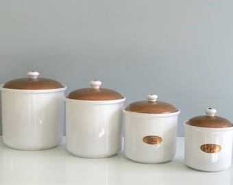 Incroyable Set Of White Ceramic And Copper Kitchen Canisters, Copper Canister Set