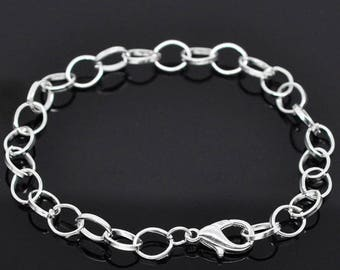 x 1 Bracelet holder mesh chain in silver plated clasp 20cm