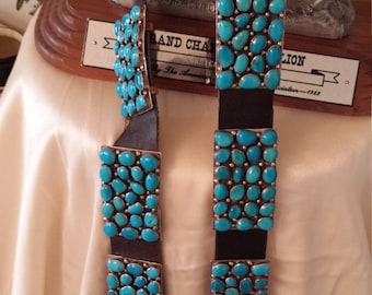 Old Navajo reservation made massive turquoise stone concho belt