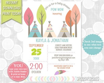 Pow Wow, Baby Shower, Tribal Baby Shower, Pow WOW Invitation, Teepee, Tribal, Boho Baby Shower, Tribal Invitation, Pow Wow Baby Shower