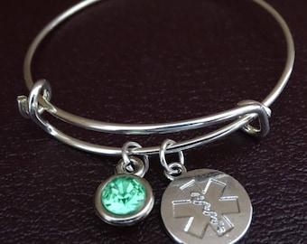 Star of Life Bangle Bracelet, Adjustable Expandable Bangle Bracelet, Star of Life Charm, EMS Bracelet, Nurse Bracelet, Emergency Nurse, EMS