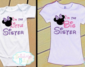 Minnie Mouse Big Sister Little Sister Outfit - Purple Bow - Bodysuit or Tshirt - Photo prop - Newborn