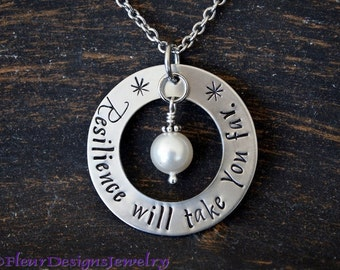 Resilience Will Take You Far- Necklace, Inspirational Necklace, Motivational Jewelry, Strength Necklace, Positive Message Necklace