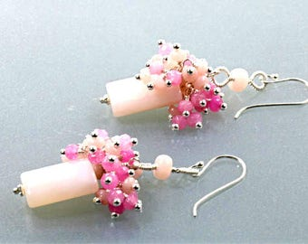 Peruvian Pink Opal Rectangle Bead and Pink Quartz Jade and Pink Opal Cluster Dangle Earrings, Pink Opal Earrings
