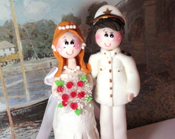 Wedding cake topper, custom wedding cake topper, marine wedding cake topper