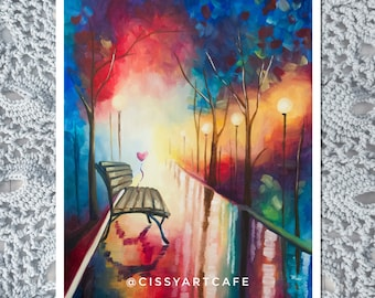 First Date Art Print and Postcard || Hand-painted Artwork