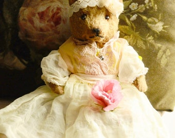 """Antique Teddy bear 11"""" -Chad Valley Magna - 1940's   Comes with clothes shown"""