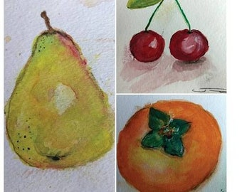 Mixed fruit watercolor postcards.