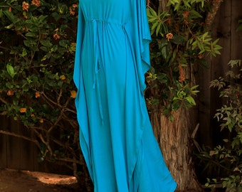 Kaftan Maxi Dress in Teal Jersey Knit - Long Caftan - Lots of Colors