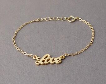 Gold Love Word Bracelet