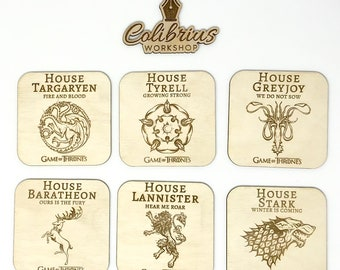 Set of 6 Game Of Thrones Wooden Coasters , Game of Thrones Gift , Coasters , Gift for Him , Gift for Her , Stark , Winter is coming , wood