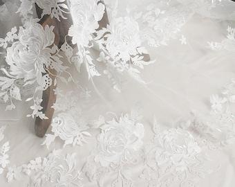 White  embroidery Soft gauze mesh eyelash lace  floral stitching  fabrics wedding gown fabric,bridal dress tulle lace   LLHB13
