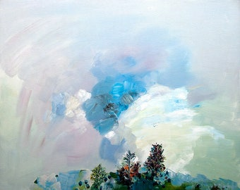 Sky landscape. Oil on canvas and frame