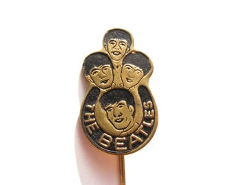 Beatles vintage stick pin, black color - The Beatles collectible button, badge