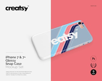 iPhone 7 & 7+ Glossy Snap Case Mockup Set