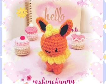 Cute Flareon plush, Amigurumi Flareon, Flareon pokemon plush, Kawaii Flareon, Crochet Flareon, Flareon amigurumi, kawaii Flareon plush
