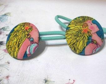Mermaid Blue Fabric Button Hair Accessory Hair Elastic Hair Ties