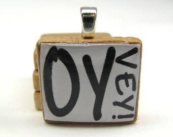 Oy Vey - Hebrew Scrabble tile - black on white