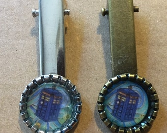 Blue Police Box Hair Clip Original Painting Brass or Silver Unique Whovian Gift